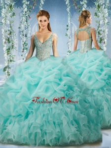 Best Beaded and Ruffled Aqua Blue Quinceanera Dress with Beaded Decorated Cap Sleeves