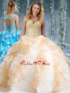 Best Organza and Rolling Flowers Big Puffy Quinceanera Dress in Champagne and White