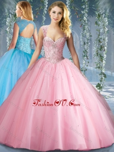 Best Pink Big Puffy Beaded Quinceanera Dress with Brush Train