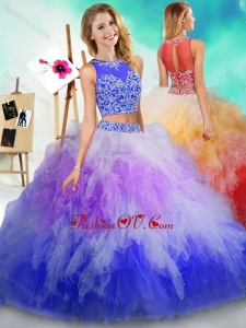 Best See Through Beaded and Ruffled Quinceanera Dress in Rainbow Colored