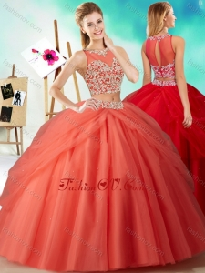 Best Two Piece See Through Beaded Quinceanera Dress in Orange Red