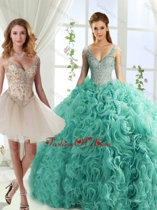 Gorgeous Rolling Flowers Deep V Neck Detachable Quinceanera Skirt with Cap Sleeves