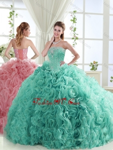 Lovely Brush Train Mint Detachable Quinceanera Skirts with Beading