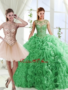 Luxurious See Through Scoop Green Detachable Quinceanera Skirt with Brush Train