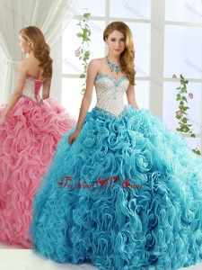 Modest Brush Train Beaded Baby Blue Detachable Quinceanera Skirt in Rolling Flowers