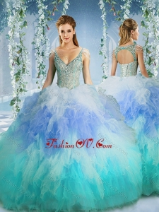 Rainbow Deep V Neck Cap Sleeves Best Quinceanera Dress with Beading and Ruffles