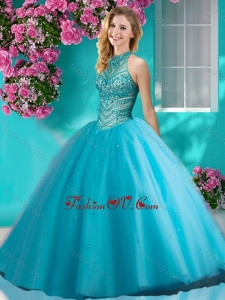 Artistic Big Puffy Halter Top Quinceanera Dress with Beading and Appliques