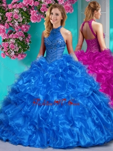 Beautiful Halter Top Beaded and Ruffled Sweet 16 Dress in Royal Blue