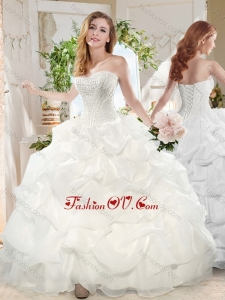 Cheap Puffy Sweetheart Beaded Long Quinceanera Dress for Party
