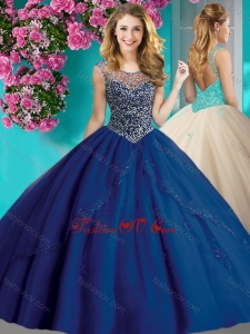 Elegant Beaded and Applique Quinceanera Dress with See Through Scoop