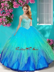 Exquisite See Through Beaded Scoop Quinceanera Dress with Backless