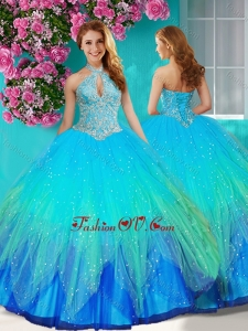 Fashionable Halter Top Rainbow Quinceanera Dress with Beading and Appliques
