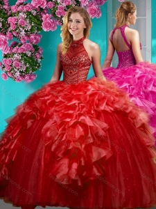 Gorgeous Beaded and Ruffled Quinceanera Dress with Halter Top