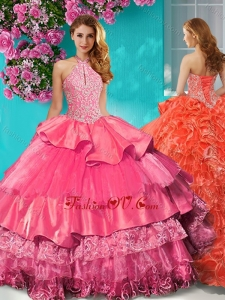Gorgeous Halter Top Brush Train Sweet 16 Dress with Beading and Ruffles Layers