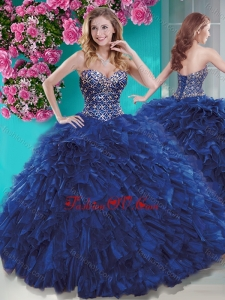 Luxurious Brush Train Blue Quinceanera Dress with Beading and Ruffles