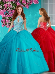 Modest Halter Top Brush Train Quinceanera Dress with Beading and Appliques