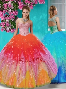 New Style Rainbow Beaded and Applique Quinceanera Dress with Detachable Straps