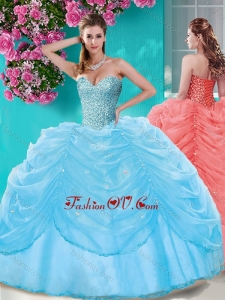 Popular Beaded and Pick Ups Big Puffy Quinceanera Dress in Light Blue