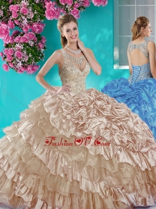 Ruffled Layers and Beaded Champagne Sweet 16 Dress in Organza and Taffeta