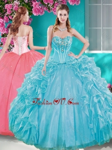 Beaded Bodice Aqua Blue Quinceanera Gown with Removable Skirt