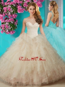 Elegant Beaded and Ruffled Quinceanera Dress with See Through Scoop