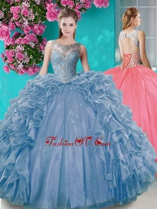 Elegant Open Back Beaded and Ruffled Sweet 16 Dress with Removable Skirt