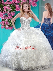 Elegant White Really Puffy Quinceanera Dress with Beading and Ruffles