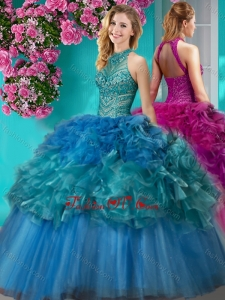 Exclusive Really Puffy Beaded and Ruffled Quinceanera Gown with Halter Top