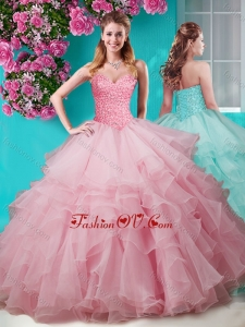 Fashionable Baby Pink Really Puffy Quinceanera Dress with Beading and Ruffles Layers