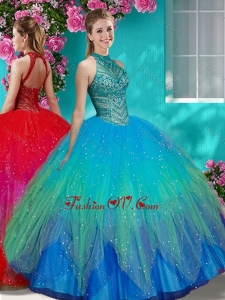 Luxurious See Through Halter Top Quinceanera Dress with Beading and Appliques