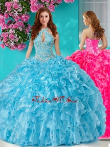 Pretty Beaded and Ruffled Big Puffy Quinceanera Gown with Halter Top