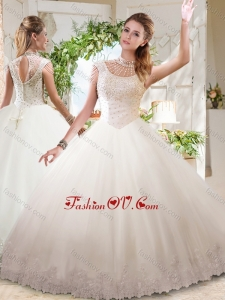 See Through Ball Gowns High Neck Lace Beaded Quinceanera Dress with Zipper Up