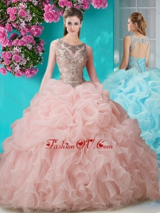 Brush Train Scoop Peach New style Quinceanera Dress with Beading and Ruffles