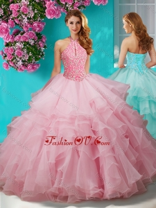 Decent Beaded and Ruffled Layers New style Quinceanera Dress with Halter Top