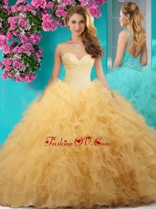 Delicate See Through Scoop Big Puffy New style Quinceanera Dress with Beading and Ruffles