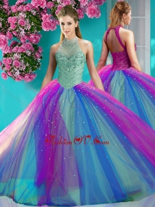 Exclusive Halter Top Really Puffy New style Quinceanera Dresswith Beading and Appliques