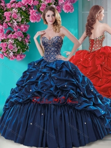 Fashionable Beaded and Ruffled New style Quinceanera Dress with Brush Train
