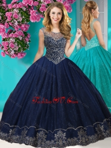 Fashionable See Through Scoop New style Quinceanera Dress with Beading and Appliques