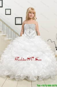 Most Popular Beading and Ruffles White Little Girl Pageant Dress