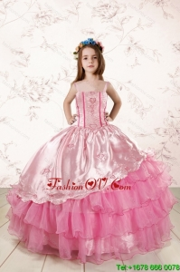 Unique Appliques and Ruffled Layers Little Girl Dress in Baby Pink