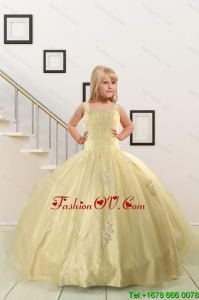 On Sales Appliques Light Yellow Little Girl Dress for 2015