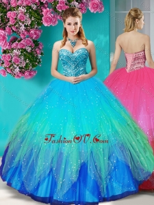 Popular Beaded Rainbow New style Quinceanera Dress with Really Puffy