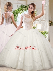 See Through White Ball Gowns High Neck Sequins Beaded Modern Quinceanera Dress with Zipper Up