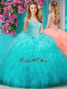 Sophisticated See Through Beaded Scoop Modern Quinceanera Dress with Ruffles
