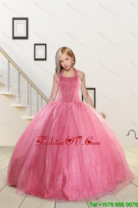 Top Seller Beading and Sequins Baby Pink Flower Girl Dress for 2015 Spring