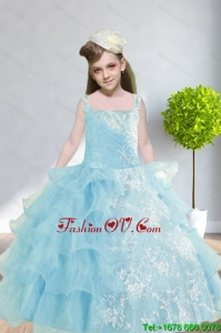 2015 Ball Gown Appliques and Ruffles Baby Bule Little Girl Pageant Dress with Straps