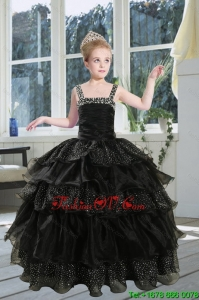 2015 Fashionable Black Straps Sequins Ruffles Organza Little Girl Pageant Dress