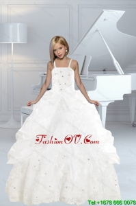 Appliques and Ruffles White delicate Little Girl Pageant Dress with Spaghetti Straps