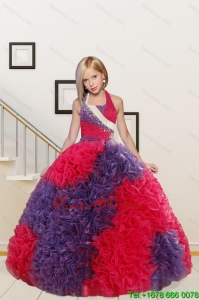 New Arrival Ball Gown Multi-color Flower Girl Dress with Beading and Ruffles