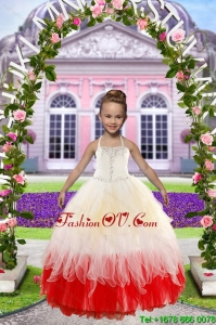 Newest Beading White and Red Little Girl Dress for 2015